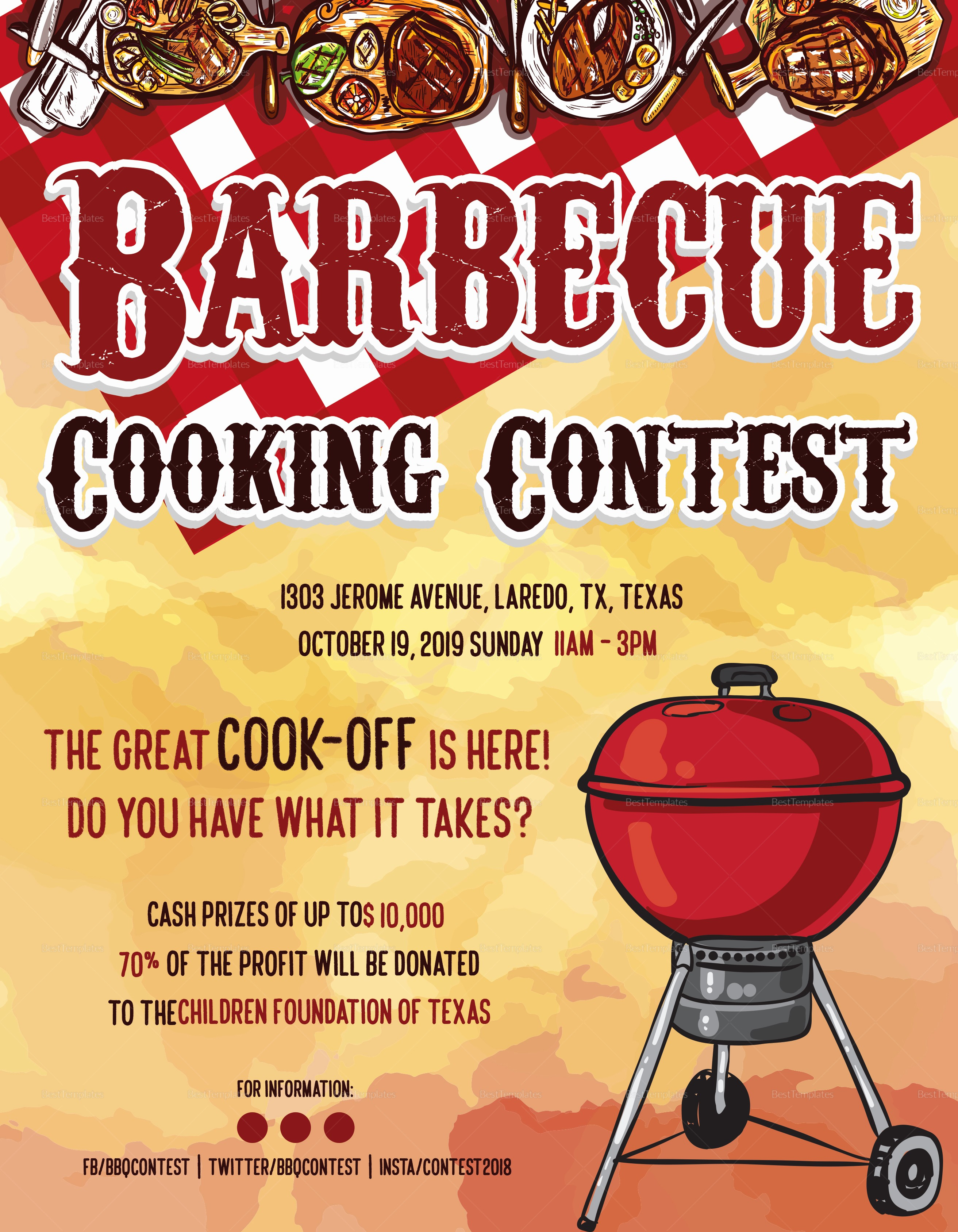 Enter to Win Flyer Template Luxury Bbq Cooking Contest Flyer Design Template In Psd Word