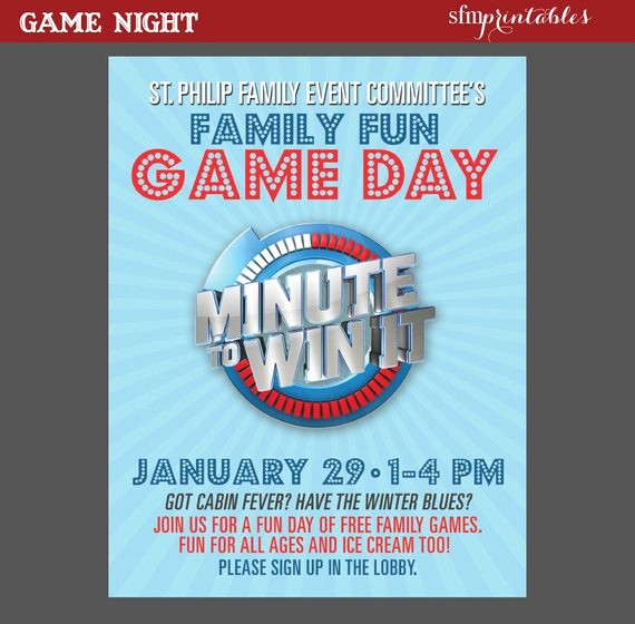 Enter to Win Flyer Template New Game Night Poster Minute to Win It Template Church School