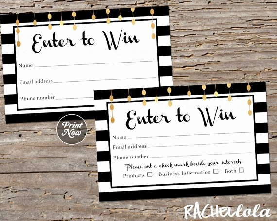 Enter to Win Raffle Template Awesome Raffle Card Printable Prize Entry Ticket Win form Black