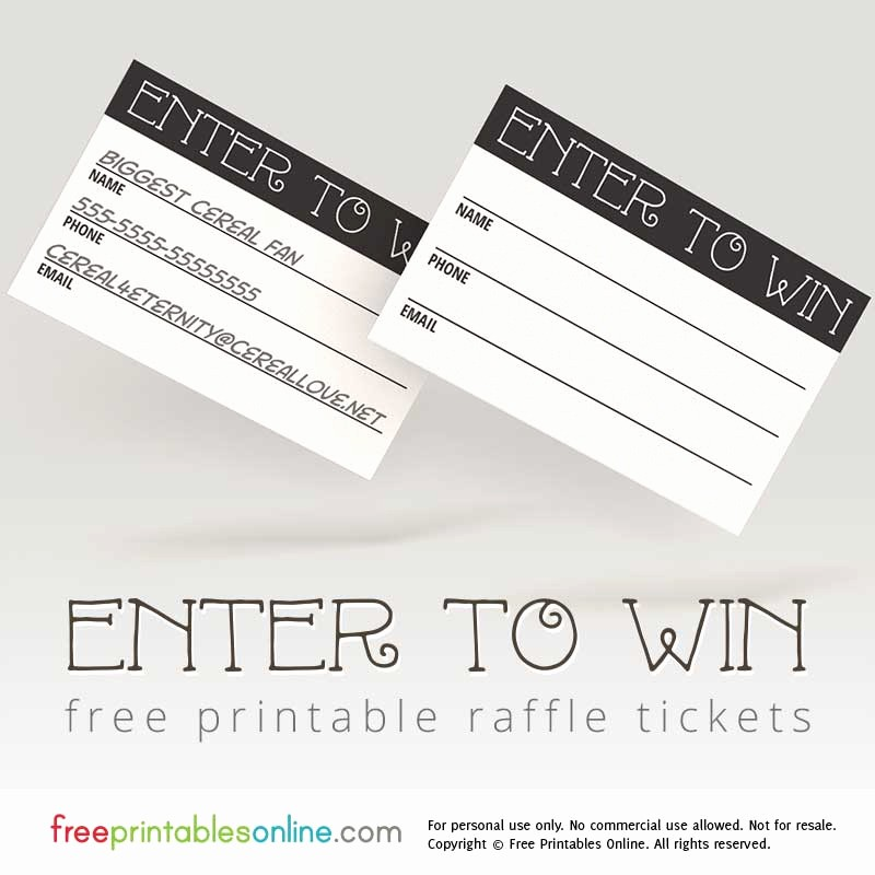 Enter to Win Raffle Template Beautiful Enter to Win Printable Raffle Tickets