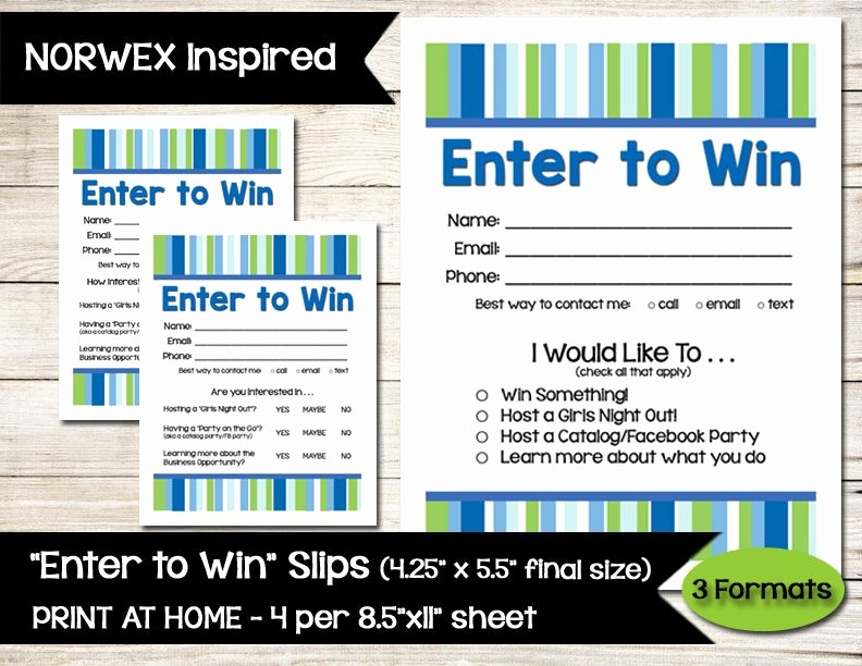 Enter to Win Raffle Template Elegant norwex Inspired Enter to Win Door Prize Drawing Slip