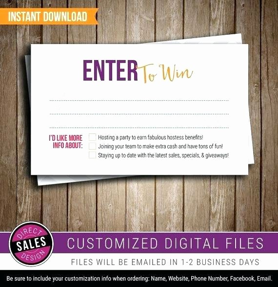 Enter to Win Raffle Template Luxury Enter to Win form Template Prize Drawing Printable