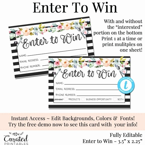 Enter to Win Raffle Template Luxury Enter to Win Raffle Card Prize Entry Ticket Home Party