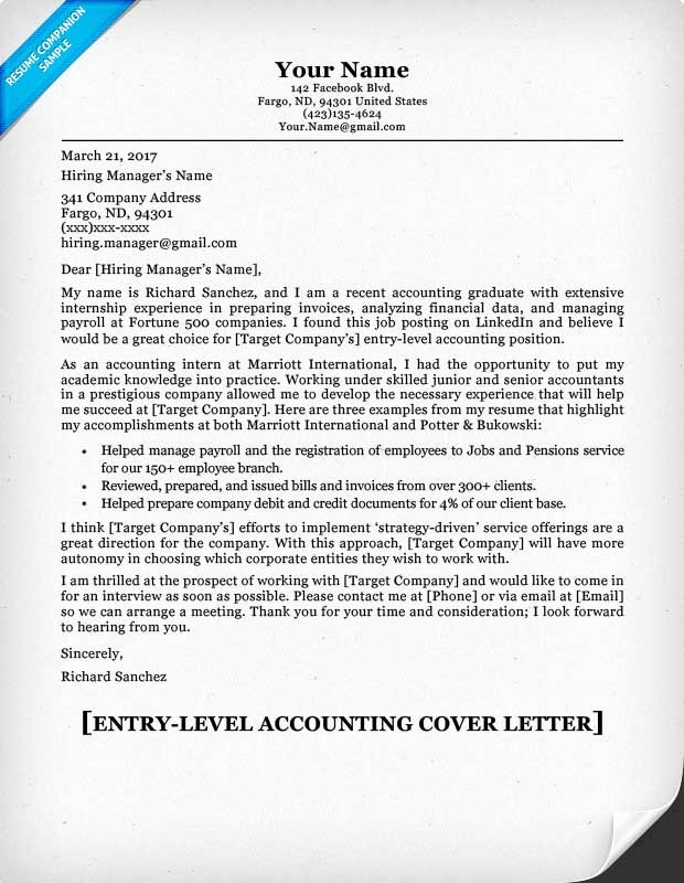 Entry Level Job Cover Letter Awesome Accounting Amp