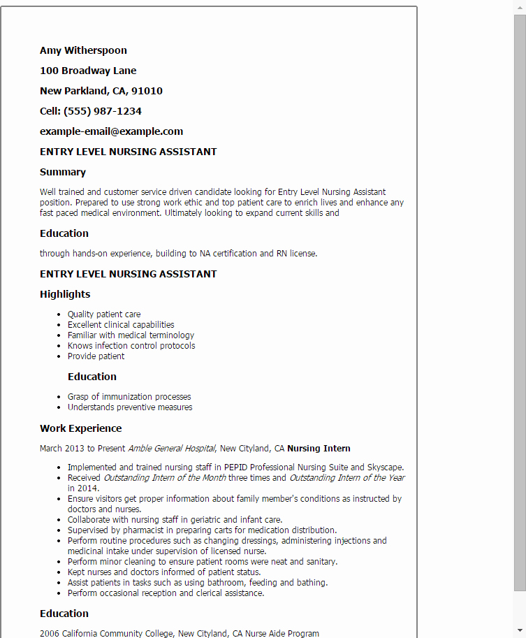 Entry Level Resume Cover Letter Beautiful Lpn 25 Template