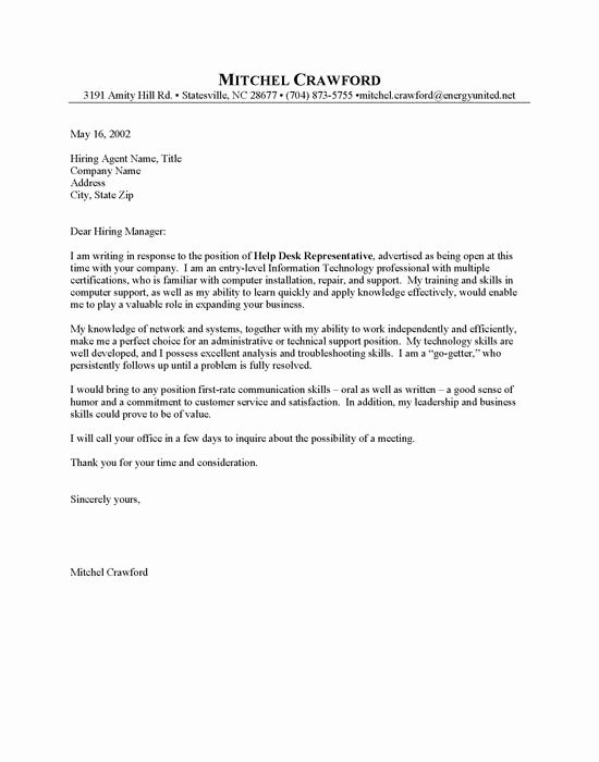 Entry Level Resume Cover Letter Beautiful Entry Level Helpdesk Cover Letter Sample