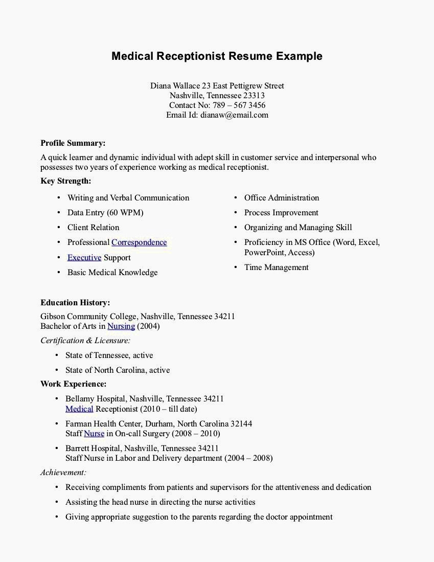 Entry Level Resume Cover Letter Beautiful Entry Level Receptionist Resume Samples