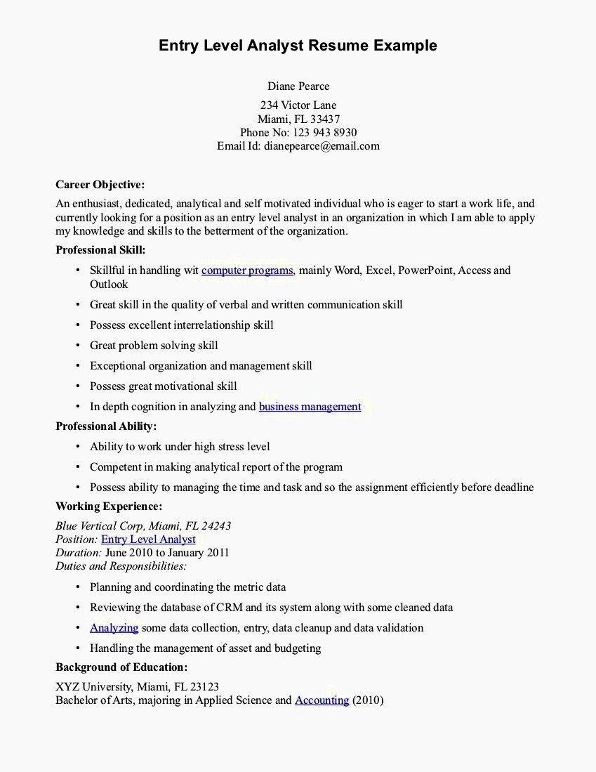 Entry Level Resume Cover Letter Elegant Entry Level Resume Objective Resume Template