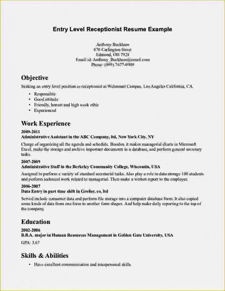 Entry Level Resume Cover Letter Fresh Entry Level High School Resume Resume Template