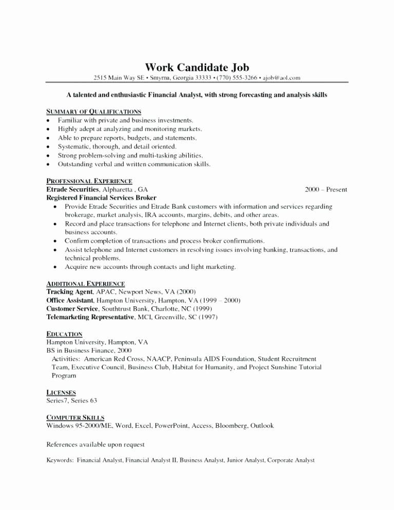 Entry Level Resume Cover Letter New Finance Resume Keywords Resume Ideas
