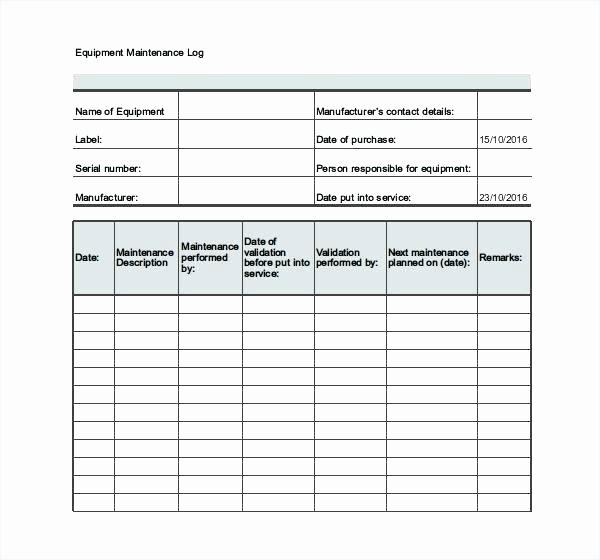 Equipment Maintenance Log Template Excel Best Of Equipment Maintenance Plan Template T Schedule Machine