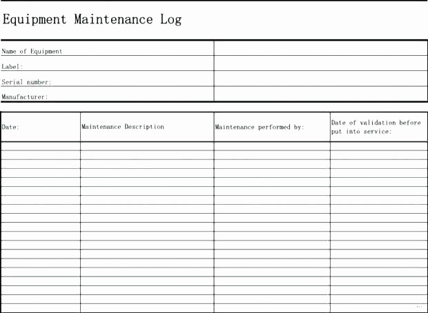 Equipment Maintenance Log Template Excel Elegant Editable Maintenance Log Spreadsheet Template for Excel