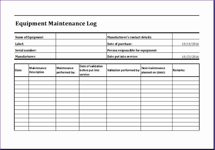 Equipment Maintenance Log Template Excel Elegant Maintenance Schedule Template Microsoft