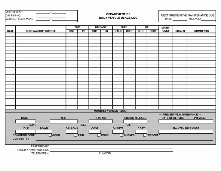 Equipment Maintenance Log Template Excel Elegant Vehicle Maintenance Log Template Excel Ewolf
