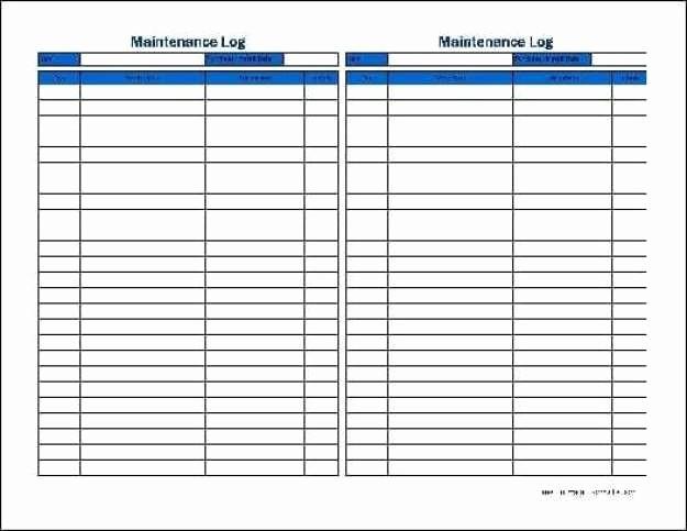 Equipment Maintenance Log Template Excel Fresh 5 Equipment Maintenance Log Templates – Word Templates