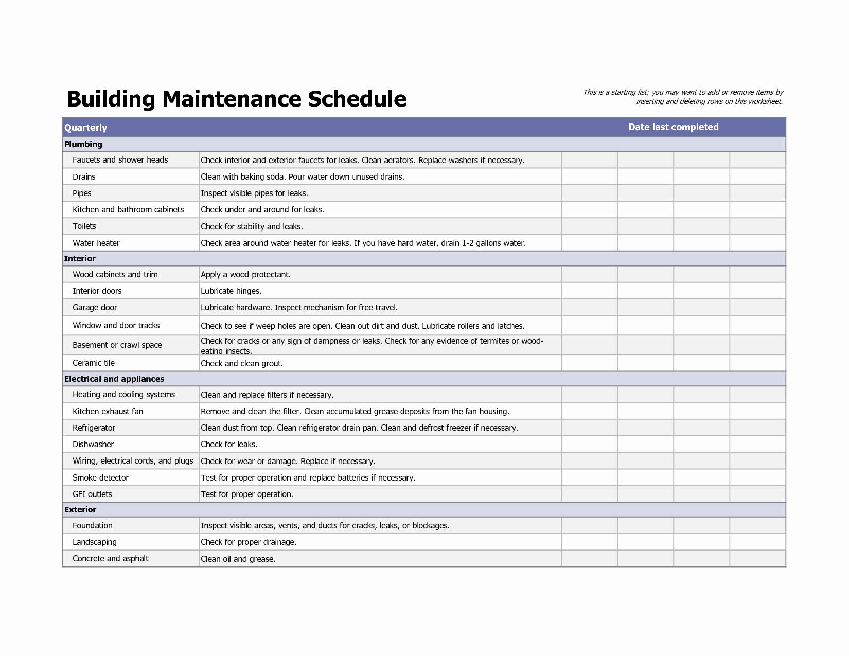 Equipment Maintenance Log Template Excel Fresh Equipment Maintenance Schedule Template Excel