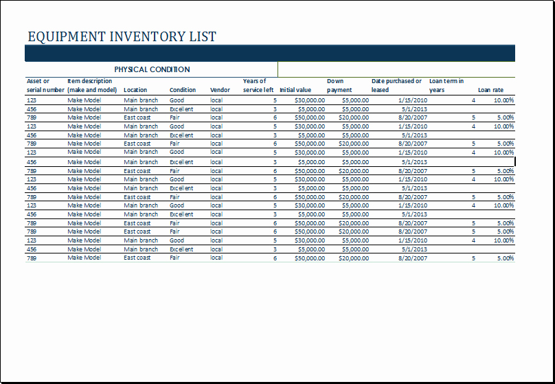 Equipment Maintenance Log Template Excel Fresh Ms Excel Equipment Inventory List Template