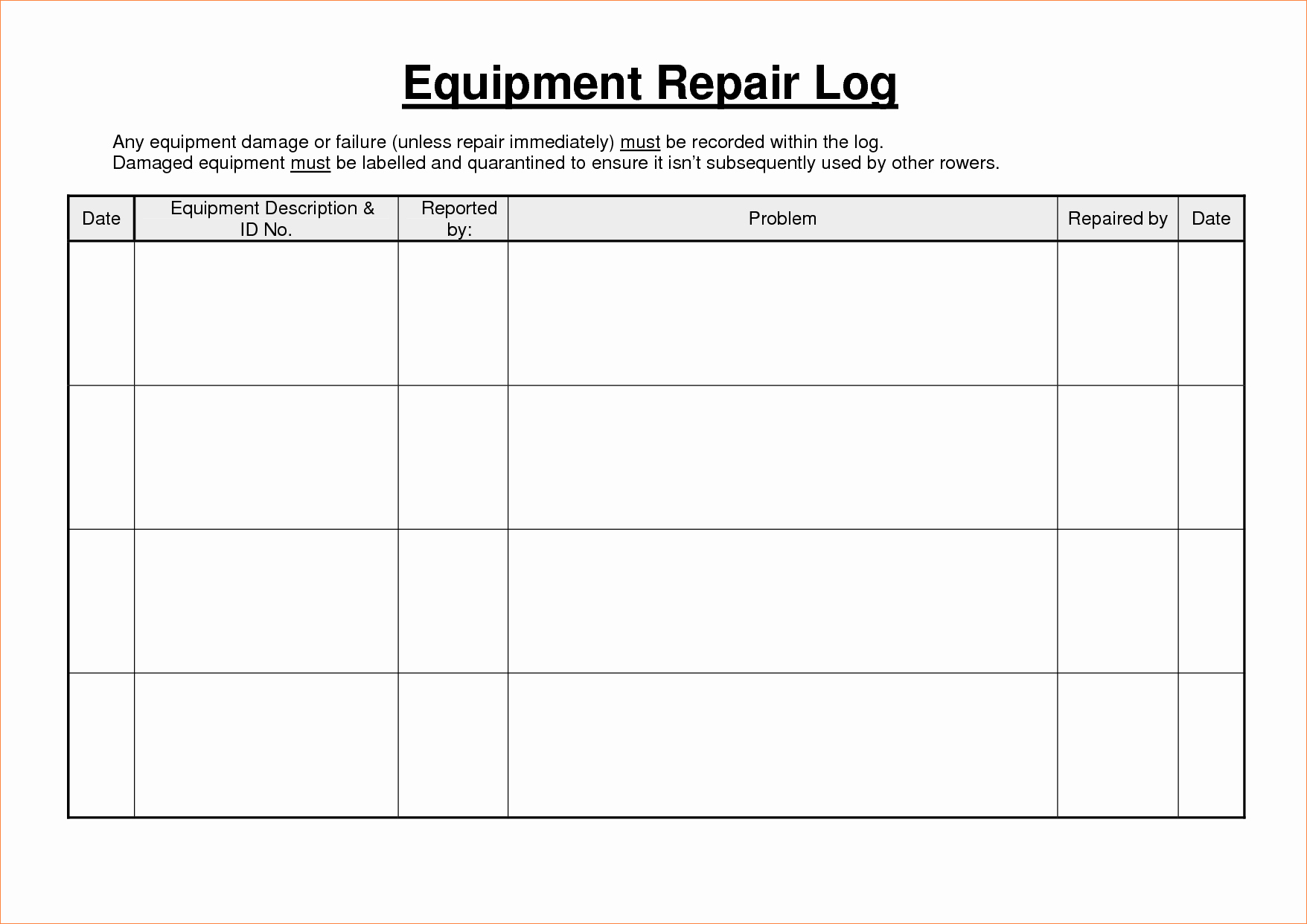 Equipment Maintenance Log Template Excel Inspirational 5 Equipment Maintenance Log