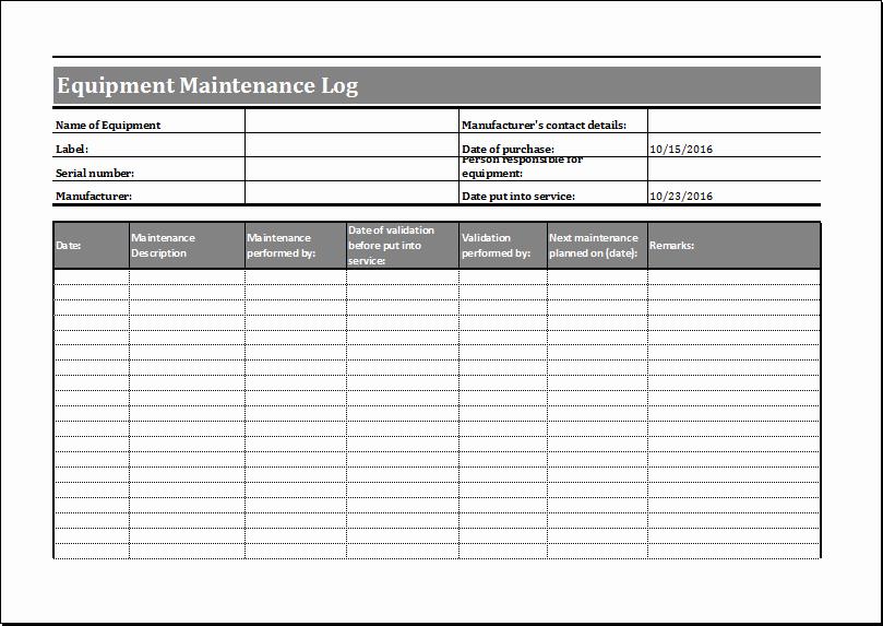 Equipment Maintenance Log Template Excel Inspirational Equipment Maintenance Log Template