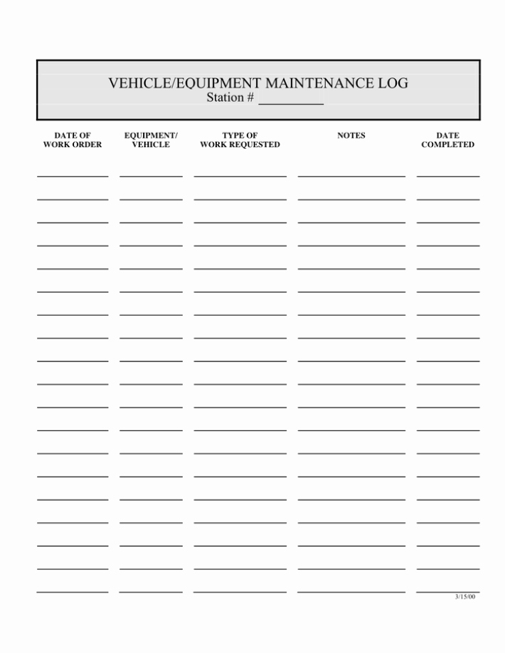 Equipment Maintenance Log Template Excel Lovely 5 Equipment Maintenance Log Templates – Word Templates