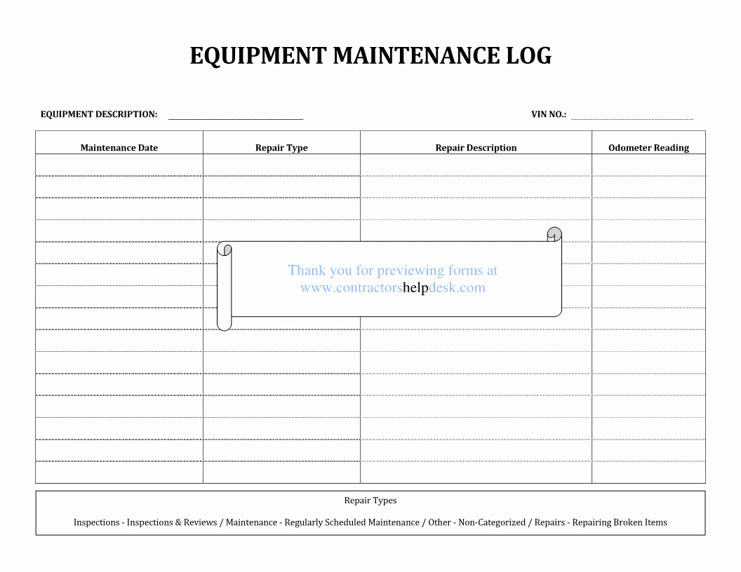 post equipment maintenance log form