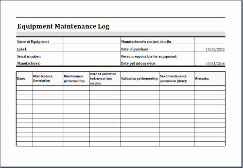 Equipment Maintenance Log Template Excel Lovely Easy Steps to Preserve & Extend Life Of Costly Equipment
