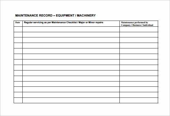 Equipment Maintenance Log Template Excel Lovely Equipment Maintenance Schedule Template Excel