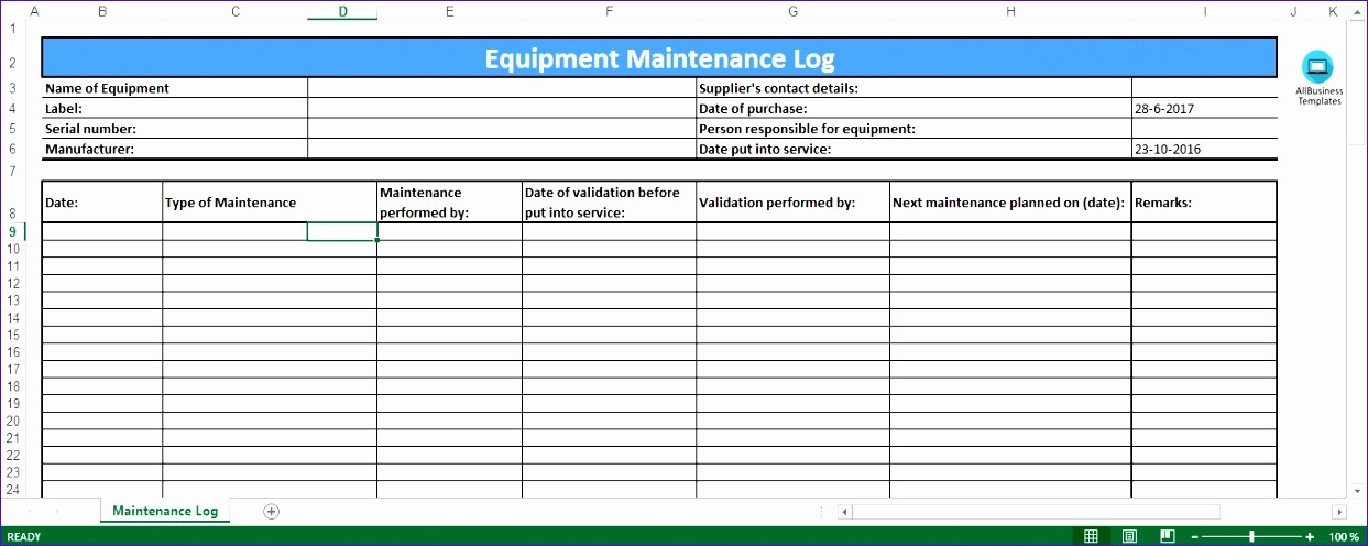 Equipment Maintenance Log Template Excel Luxury 6 Preventive Maintenance Template Excel Exceltemplates