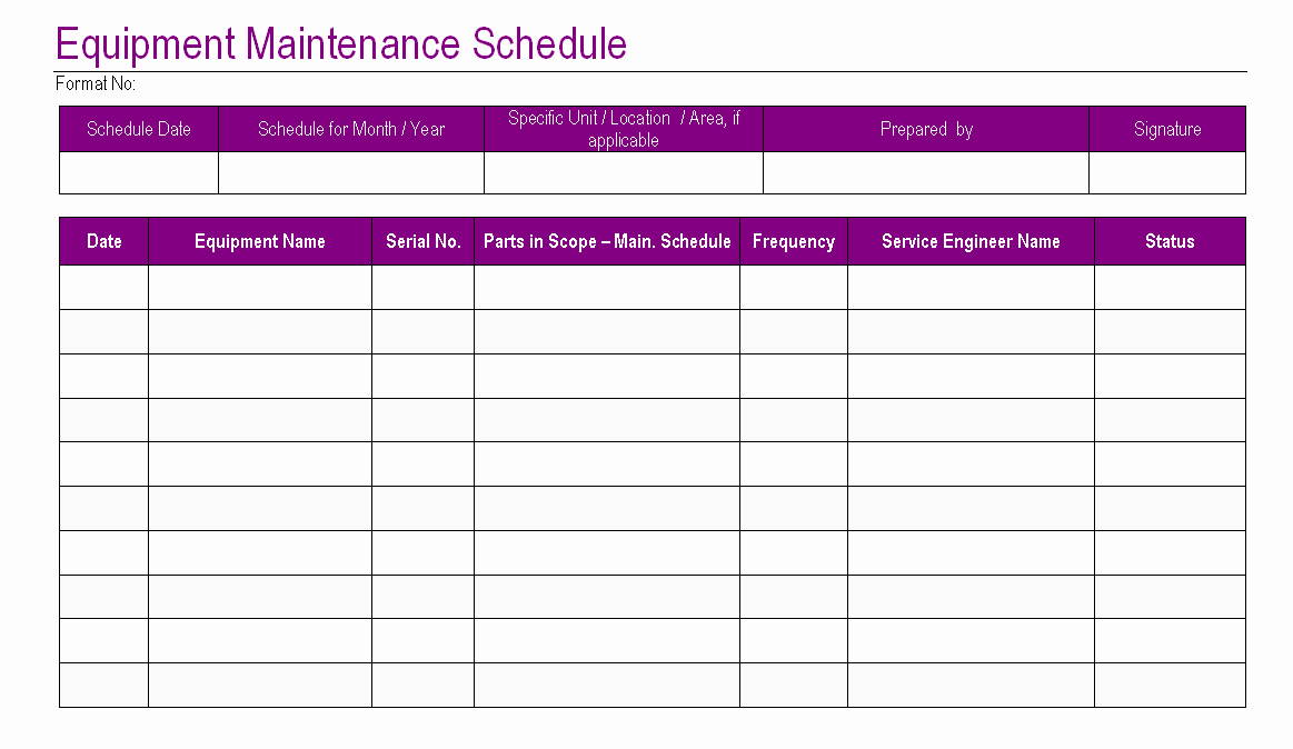 Equipment Maintenance Log Template Excel Luxury Equipment Maintenance Schedule Template Excel