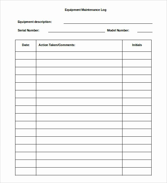 Equipment Maintenance Log Template Excel Unique 16 Log Templates Free Word Excel Pdf