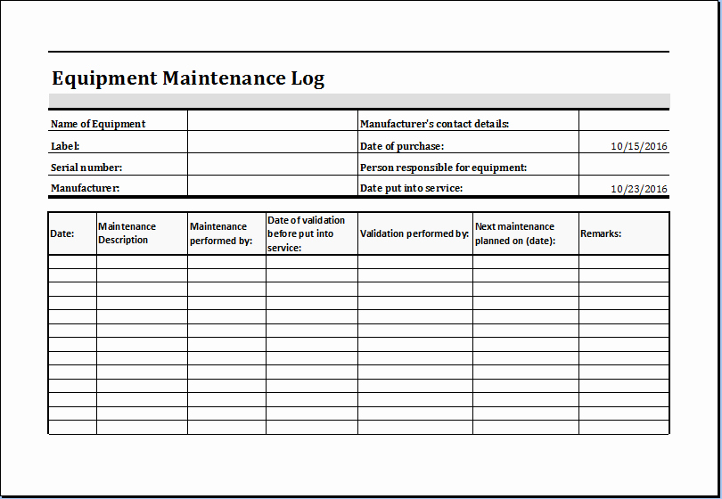 Equipment Maintenance Log Template Excel Unique Equipment Maintenance Log Template Ms Excel