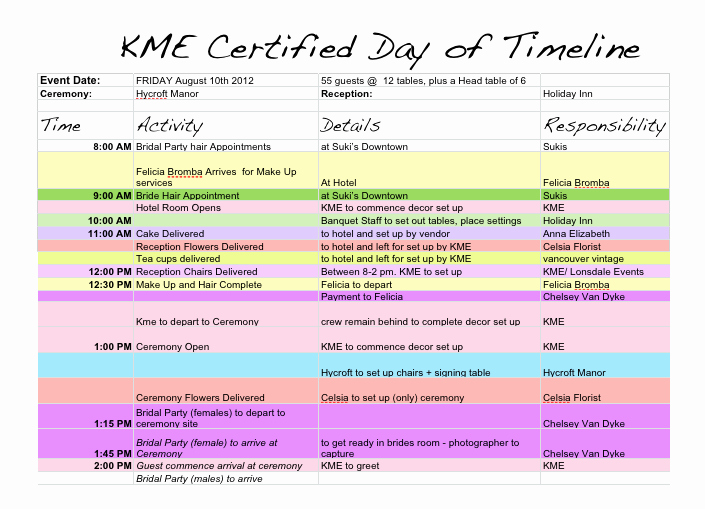 Event Planning Timeline Template Excel Fresh Wedding Day Timeline Template