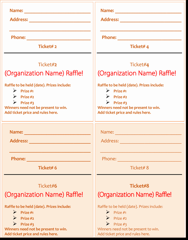 Event Tickets Template with Numbers Awesome 20 Free Raffle Ticket Templates with Automate Ticket