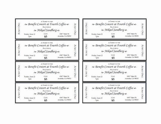 Event Tickets Template with Numbers Awesome event Tickets