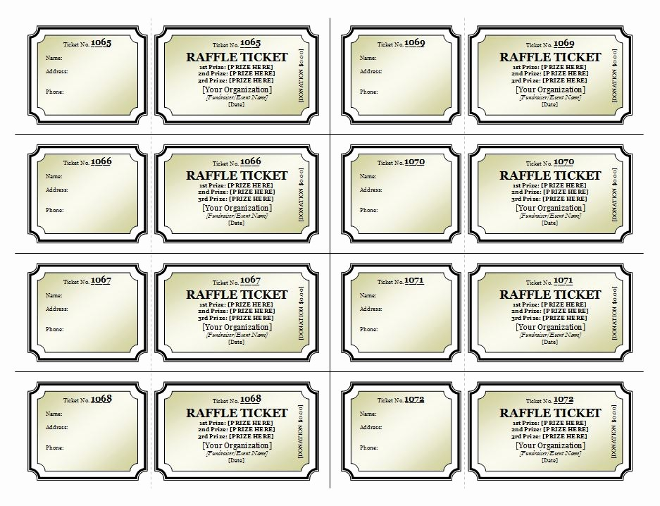 Event Tickets Template with Numbers Fresh Raffle Ticket Template