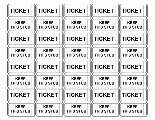 Event Tickets Template with Numbers New Printable Admission Tickets without Numbers