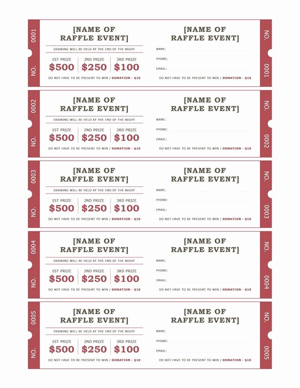 Event Tickets Template with Numbers New Raffle Tickets Templates Fice