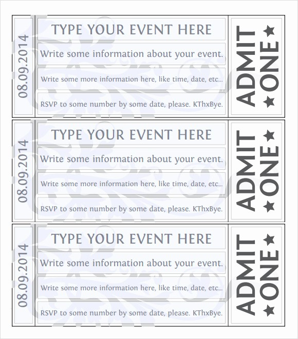 Event Tickets Template with Numbers Unique 7 Best Of event Ticket Template Printable Free