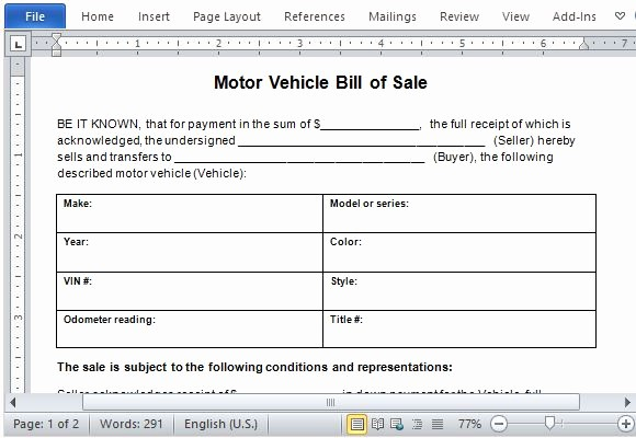 Example Car Bill Of Sale Beautiful Motor Vehicle Bill Of Sale Template for Word