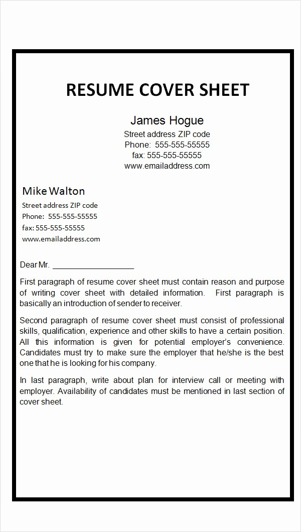 Example Cover Sheet for Resume Fresh Word Fax Cover Letter