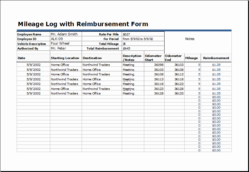 Example Mileage Log for Taxes Awesome 22 Printable Mileage Log Examples Pdf