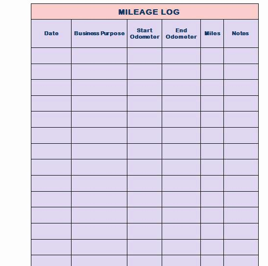 Example Mileage Log for Taxes Lovely Printable Mileage Log Templates Free Template Lab Book for