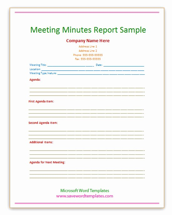 Example Minutes Of Meeting Report Fresh Free Word Templates September 2013