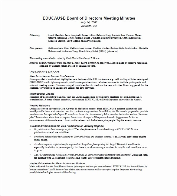 Example Minutes Of Meeting Report Luxury Board Of Directors Meeting Minutes Template 12 Example
