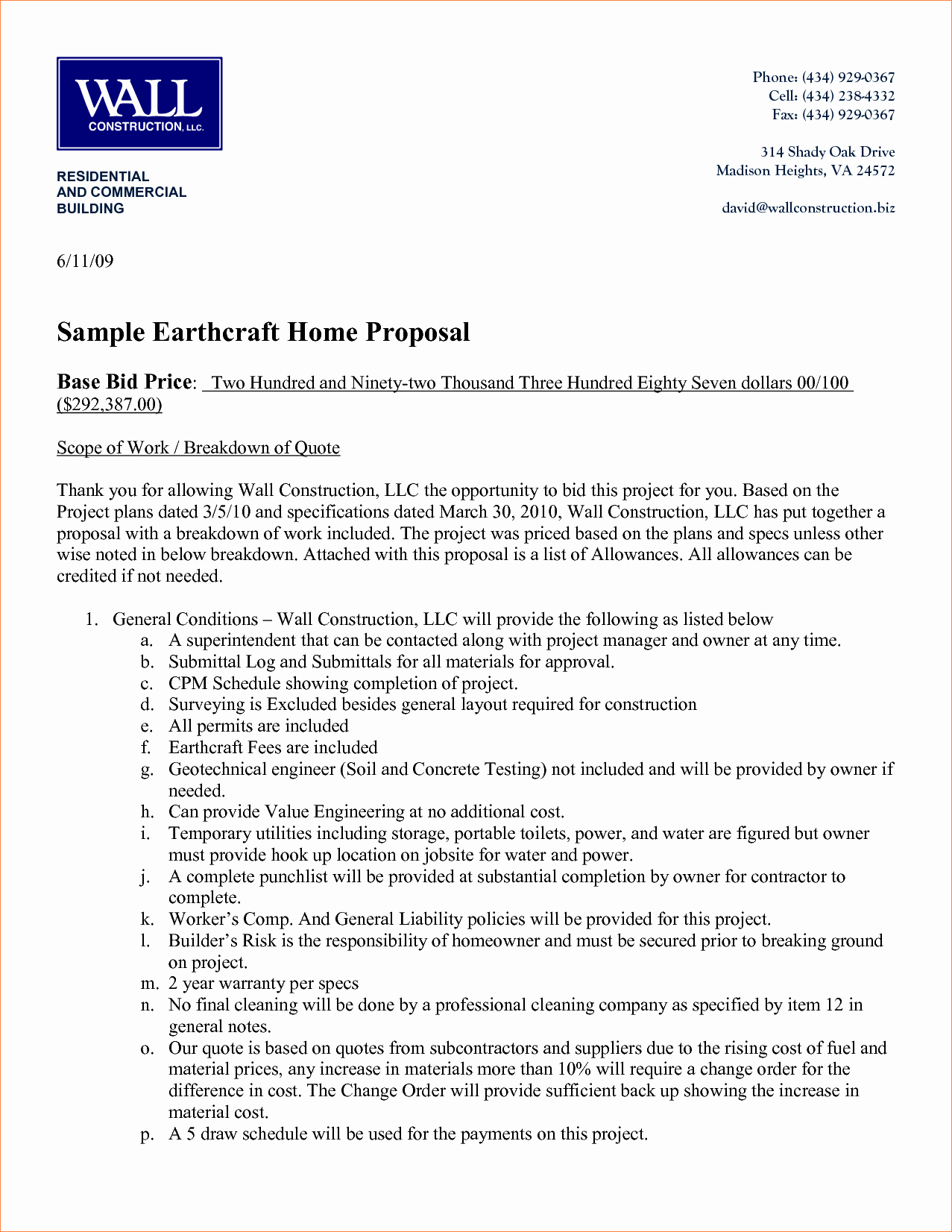 Example Of A Bid Proposal Elegant 5 Sample Bid Proposal