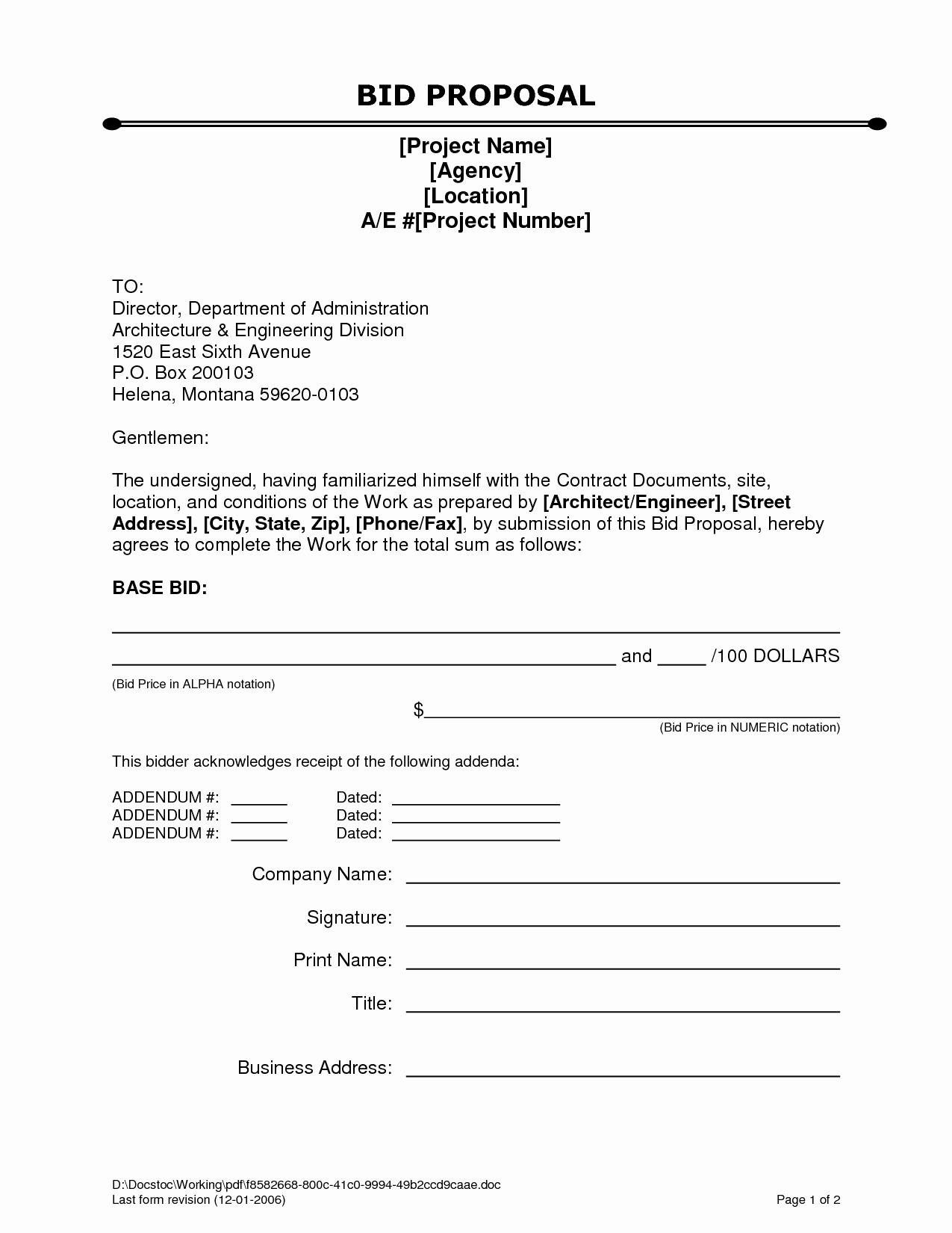 Example Of A Bid Proposal Elegant Bid Proposal Letter Mughals