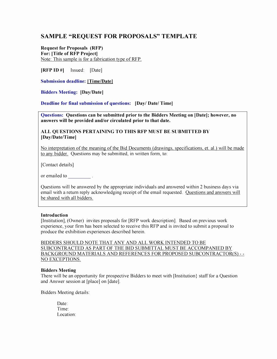 Example Of A Bid Proposal Fresh 40 Best Request for Proposal Templates & Examples Rpf