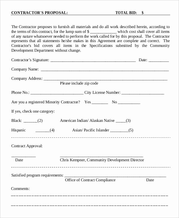 Example Of A Bid Proposal Lovely 15 Contractor Proposal Templates Free Word Pdf format