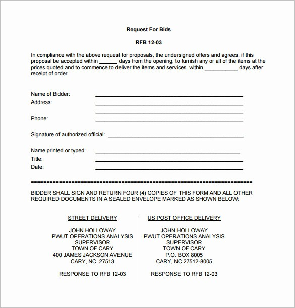 Example Of A Bid Proposal Lovely Bid Proposal Template Pdf Templates Resume Examples