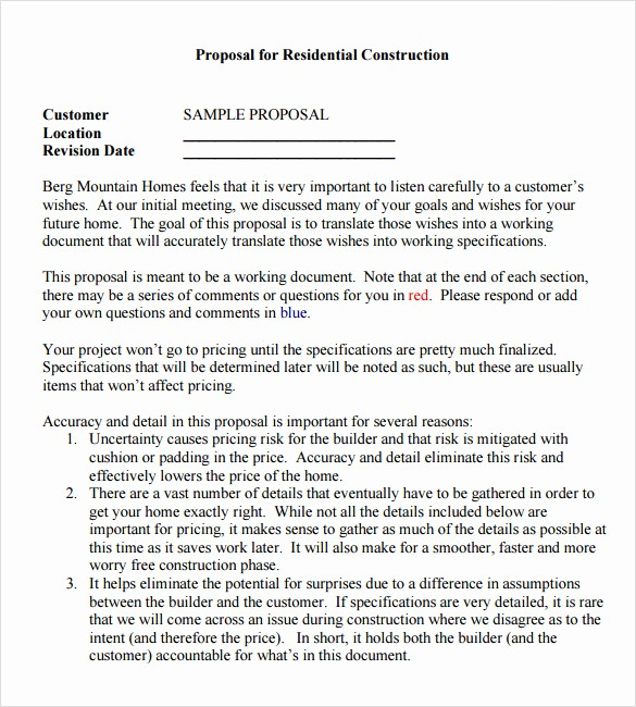 Example Of A Bid Proposal Luxury 13 Sample Contractor Proposals